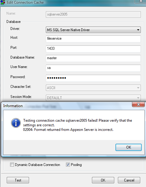 Cannot connect to the SQL Server | Appeon